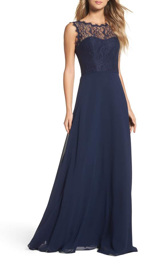 Paige Hayley Occasions Lace & Chiffon A-Line Gown