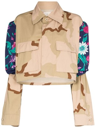 Rentrayage Panelled Floral Camouflage-Print Jacket