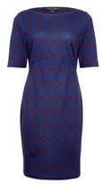 Dorothy Perkins Womens Navy And Red Check Print Bodycon Dress