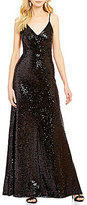 B. Darlin Sequin Spaghetti-Strap Long Dress