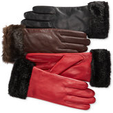 Charter Club Faux Fur-Cuff Leather Tech Gloves, Only at Macy's