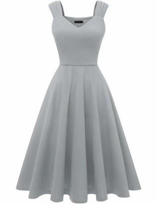 DRESSTELLS Women's 50s Bridesmaids Vintage Party Retro Sleeveless V-Neck Cocktail Tea Swing Dress Black XS
