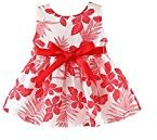 Fheaven Baby Girls Summer Princess Sleeveless Dress Leaf Printing Blet Bowknot Party Dress (1T, Red)