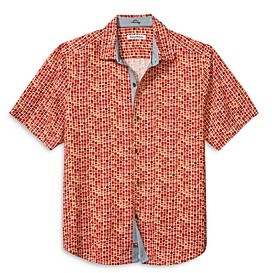 Tommy Bahama Geometric Print Silk Camp Shirt