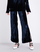 Sharon Wauchob High-rise creased velvet trousers
