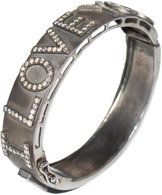 Arthur Marder Fine Jewelry Silver 2.25 Ct. Tw. I Love You Diamond Bangle