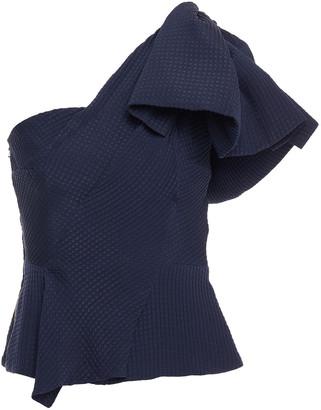Roland Mouret One-shoulder Bow-detailed Silk-seersucker Top
