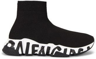 Balenciaga Speed Knit Sneakers in Black & White & Black | FWRD