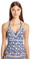 Jessica Simpson Women's Patched up Ditsy Floral Crossed Back Tankini