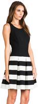 Milly Stretch Doubleweave Drop-Waist Pleated Skirt Dress