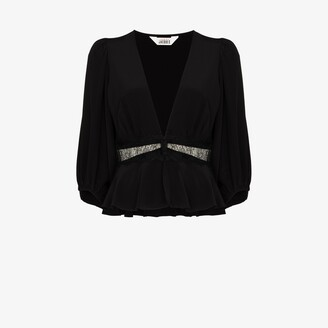 SLEEPING WITH JACQUES Lace Detail Silk Top