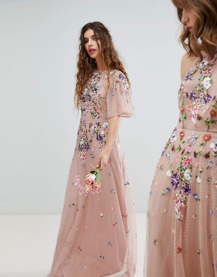 Asos Design DESIGN floral embroidered dobby mesh flutter sleeve maxi dress