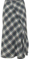 Vince Shadow Wrap-effect Plaid Silk Midi Skirt