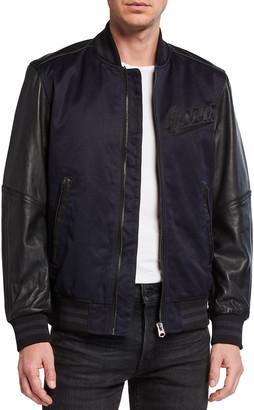 G Star Men's Allox PM Leather Sleeve Bomber Jacket