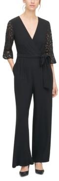 Jessica Howard Petite Lace-Sleeve Jumpsuit