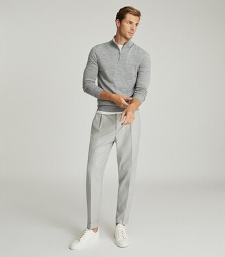 Reiss Brighton - Pleat Front Trousers in Soft Grey
