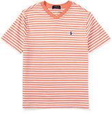 Ralph Lauren Striped V-Neck Jersey Tee, Size 5-7
