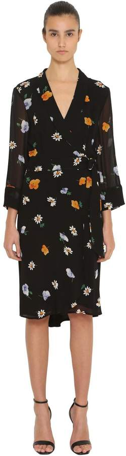 Ganni Printed Wrap Georgette Dress