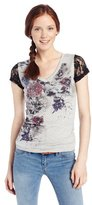 Southpole Juniors Sweet Tee with Dark Floral Graphics and Slub Fabric