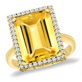 Sabrina Silver 14K Yellow Gold Natural Citrine Ring Diamond Accent 14x10 mm Octagon, size 9.5