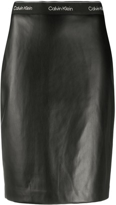 Calvin Klein Faux-Leather Pencil Skirt