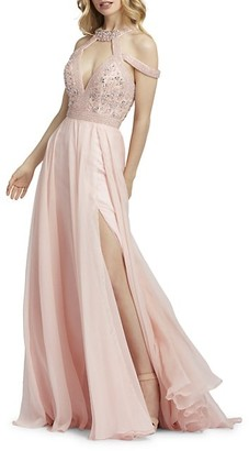 Mac Duggal Floral-Embellished A-Line Gown