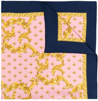 Gucci Rhombus Leaves Print Silk Scarf