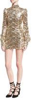 Marc Jacobs Sequined Mock-Neck Mini Dress, Gold