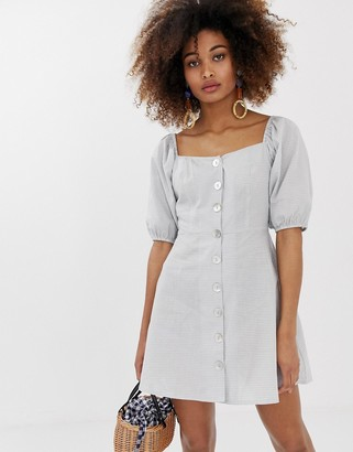 Neon Rose button front tea dress with puff sleeves in gingham-Grey