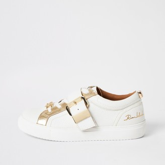 River Island Womens White buckle strap lace-up trainers