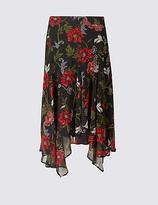 Per Una Floral Print Chiffon A-Line Midi Skirt