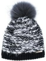 Norton Co. racoon fur pom pom textured hat