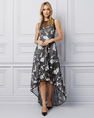 Le Château Floral Embroidered Organza High-Low Gown