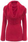minnie rose fringe boho 70s cowl neck sweater 18235