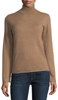 Neiman Marcus Cashmere Basic Turtleneck Sweater, Camel