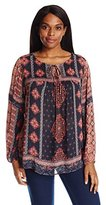 Lucky Brand Women's Plus-Size Border Print Peasant Top