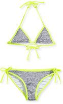 Milly Minis Melange Halter Tie Bikini, Fluo Yellow, Size 8-14
