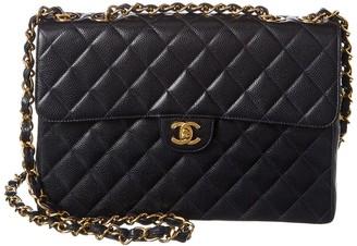 Chanel Quilted Caviar Leather Single Half Flap Jumbo Bag