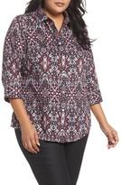 Foxcroft Plus Size Women's Ava Heirloom Paisley Print Cotton Shirt