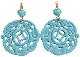 Kenneth Jay Lane Carved Round Oriental Blue Drop Earrings 8860ETT