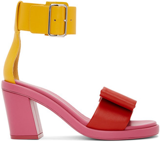 Comme des Garcons Pink and Yellow Bow Heeled Sandals