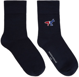 MAISON KITSUNÉ Navy Tricolor Fox Socks