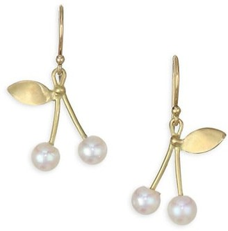 Annette Ferdinandsen Organic Freshwater Pearl & 18K Yellow Gold Cherry Post Earrings