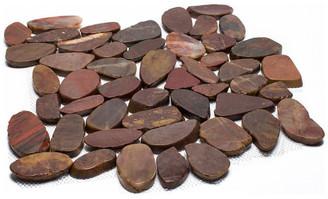 "Rainforest Sliced High-Polish Pebble Stone Tile 12""x12"" 5 Pack, Red"