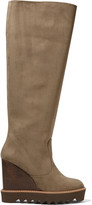 Stella McCartney Faux suede platform wedge knee boots