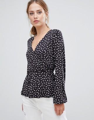 Y.A.S Mirella patterned wrap blouse