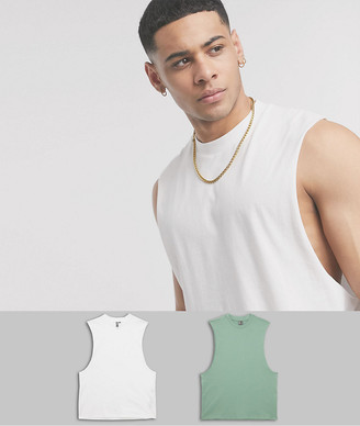 ASOS DESIGN 2 pack organic sleeveless t-shirt with dropped armhole