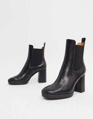 And other stories & leather chunky heel platform ankle boots in black