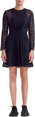 Maje Lace Sleeve Pleated Dress