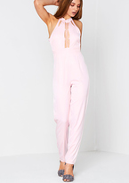 Missy Empire Odetta Pink Cut Out Plunging Jumpsuit